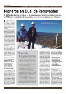New jobs: renewable energies. Source: Magisterio Magazine (Article in Spanish)